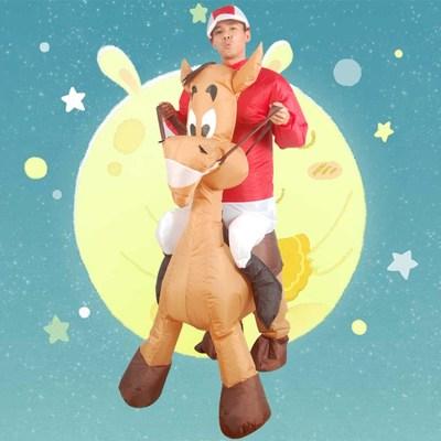 年会创意演出服装充气骑驴衣服搞笑卡通小毛驴